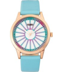 crayo unisex electric light blue leatherette strap watch 41mm