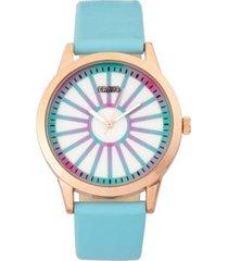 crayo unisex electric light blue leatherette strap watch 41mm