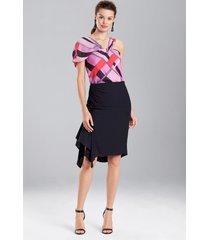 cotton like rouched skirt, women's, black, size 6, josie natori