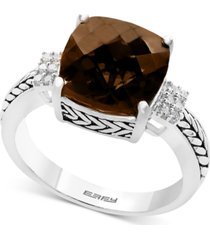 effy smoky quartz (4-1/2 ct. t.w.) & diamond (1/20 ct. t.w.) accent ring in sterling silver