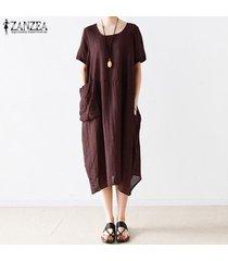 s-5xl zanzea para mujer con cuello redondo de manga corta de verano largo flojo de la camisa de vestido de midi -rojo