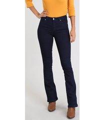 calça jeans feminina boot cut cintura média azul escuro