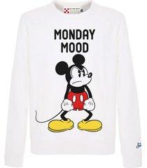 mc2 saint barth white mickey mouse mood sweatshirt