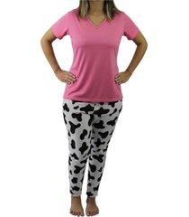 pijama camiseta manga curta e calça touro boots feminino rosa - kanui