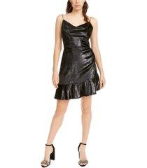 leyden shimmery ruffle-hem dress