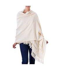 cotton shawl, 'alabaster' (el salvador)