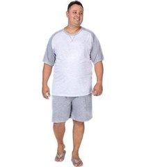pijama plus size masculino manga curta e bermuda - masculino