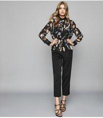 reiss kiri - floral print chiffon blouse in black, womens, size 12