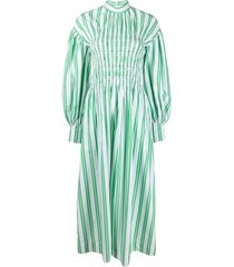 ganni striped stretch long dress