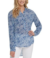 dkny jeans printed high-low blouse