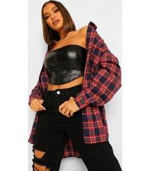 geruite oversized blouse, navy