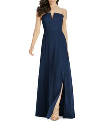 women's dessy collection strapless chiffon a-line gown, size 4 - blue