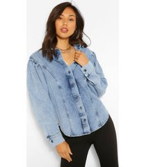 denim puff sleeve shirt, stonewash