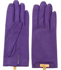hermès pre-owned cadena charm leather gloves - purple