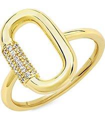 14k goldplated & cubic zirconia carabiner ring