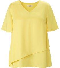 blouse korte vleugelmouwen en v-hals van emilia lay geel