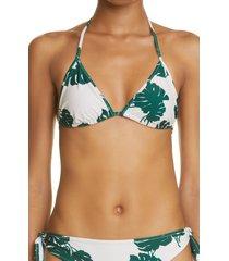 la doublej print triangle bikini top, size small in monstera at nordstrom