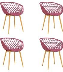conjunto 04 cadeiras clarice cereja