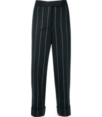 thom browne vertical stripe cropped trousers - blue