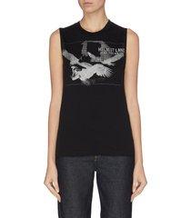 eagle print sleeveless t-shirt