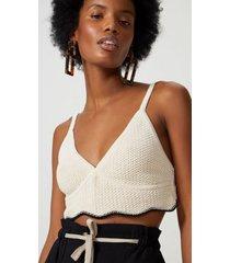 amaro feminino top cropped tricot ponto crochet, natural