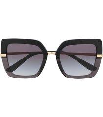 dolce & gabbana eyewear half print square-frame sunglasses - black