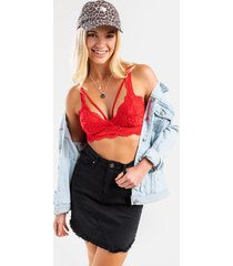 alexia v cut lace bralette - red