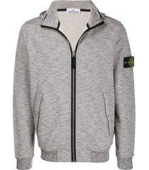 stone island logo patch hoodie - grey