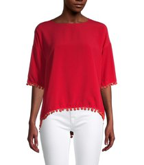 french connection women's pom-pom high-low top - blazer red - size s