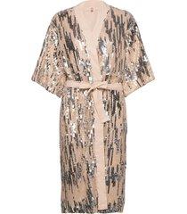 glitrio kimono dress knälång klänning beige becksöndergaard
