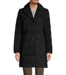 t tahari women's tanya lurex & wool-blend shawl collar coat - black lurex - size xs