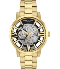 kenneth cole new york mens automatic round gold hamilton gold stainless steel bracelet watch 46mm