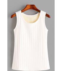 yoins basics camiseta sin mangas con forro de felpa blanca redonda cuello sin mangas