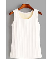 camiseta sin mangas con forro de felpa sin mangas redonda blanca cuello