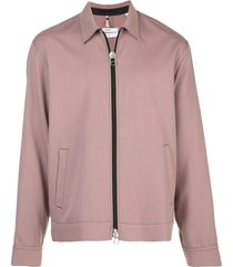 wool zip-up shirt jacket pink
