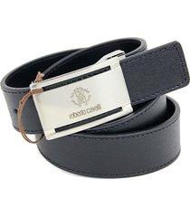 roberto cavalli logo buckle saffiano leather belt - black - size 32