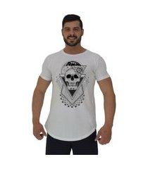 camiseta longline alto conceito world skull branco