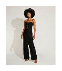 macacão feminino mindset com botões e lastex alça fina preto