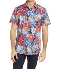 men's bugatchi shaped fit stretch floral short sleeve button-up shirt, size xx-large - red