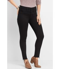 flying monkey™ womens high rise black triple button skinny jeans - maurices