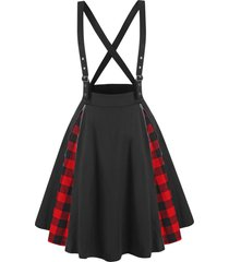 zippered plaid panel criss cross suspender skirt