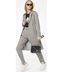 mk trench in lana stretch principe di galles - osso (naturale) - michael kors