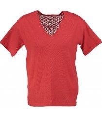 vero moda zachte trui poppy red kanten rug