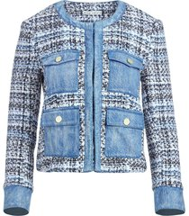 alice+olivia avis multi-pocket tweed jacket - blue