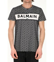 balmain bicolor balmain monogram and logo print cotton t-shirt