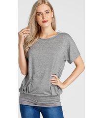 gris redondo cuello camiseta de manga corta con cintura elástica