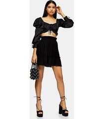 tall black pleated mini skirt - black