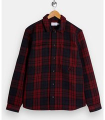 mens red and black watch overshirt
