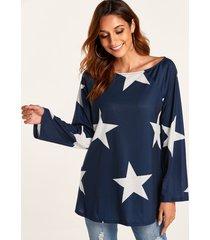 navy star one camiseta de manga larga con hombros descubiertos