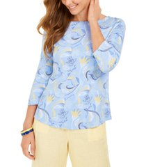 charter club paisley-print 3/4-sleeve top, created for macy's
